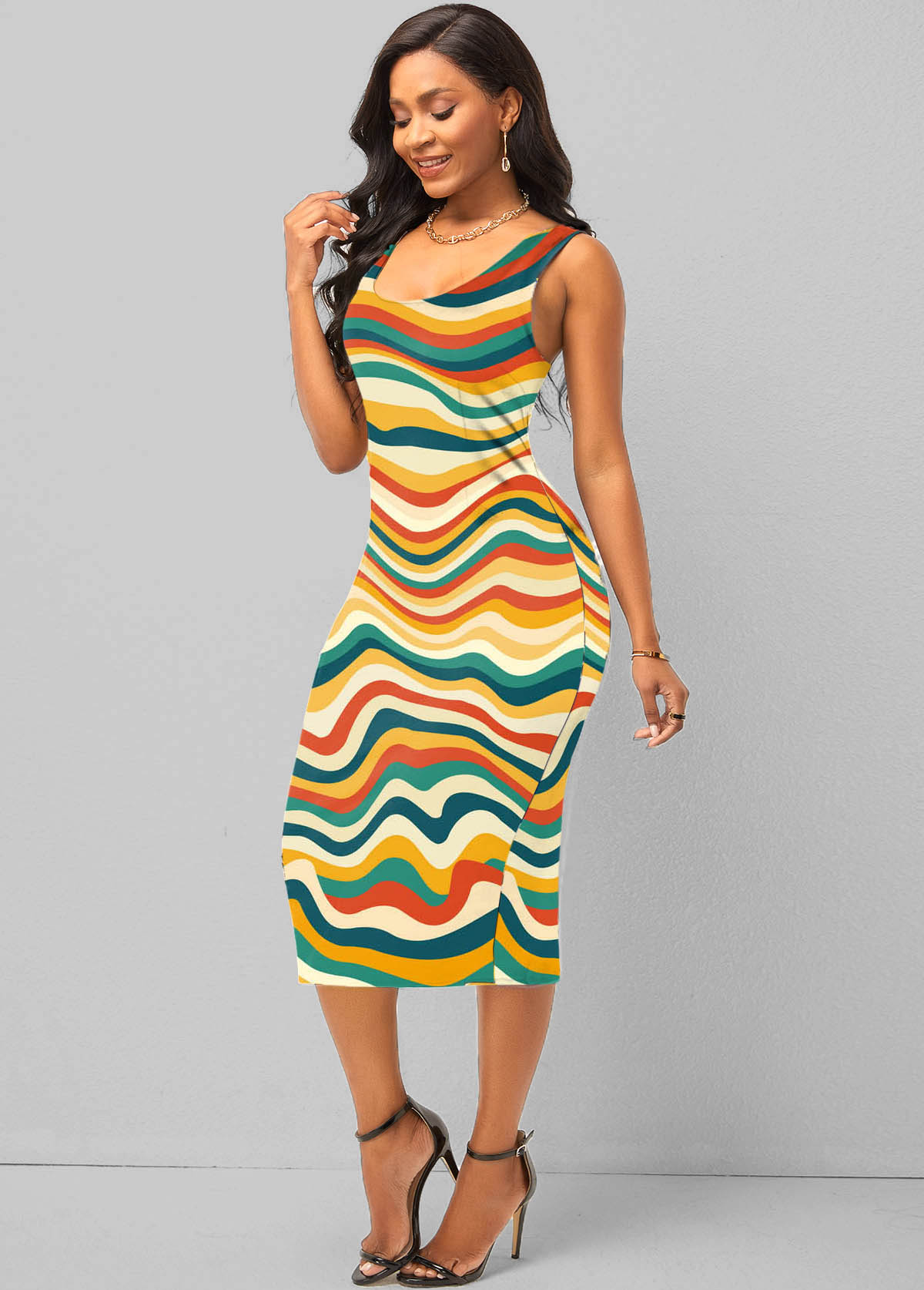 Rainbow Stripe Wide Strap Sheath Dress
