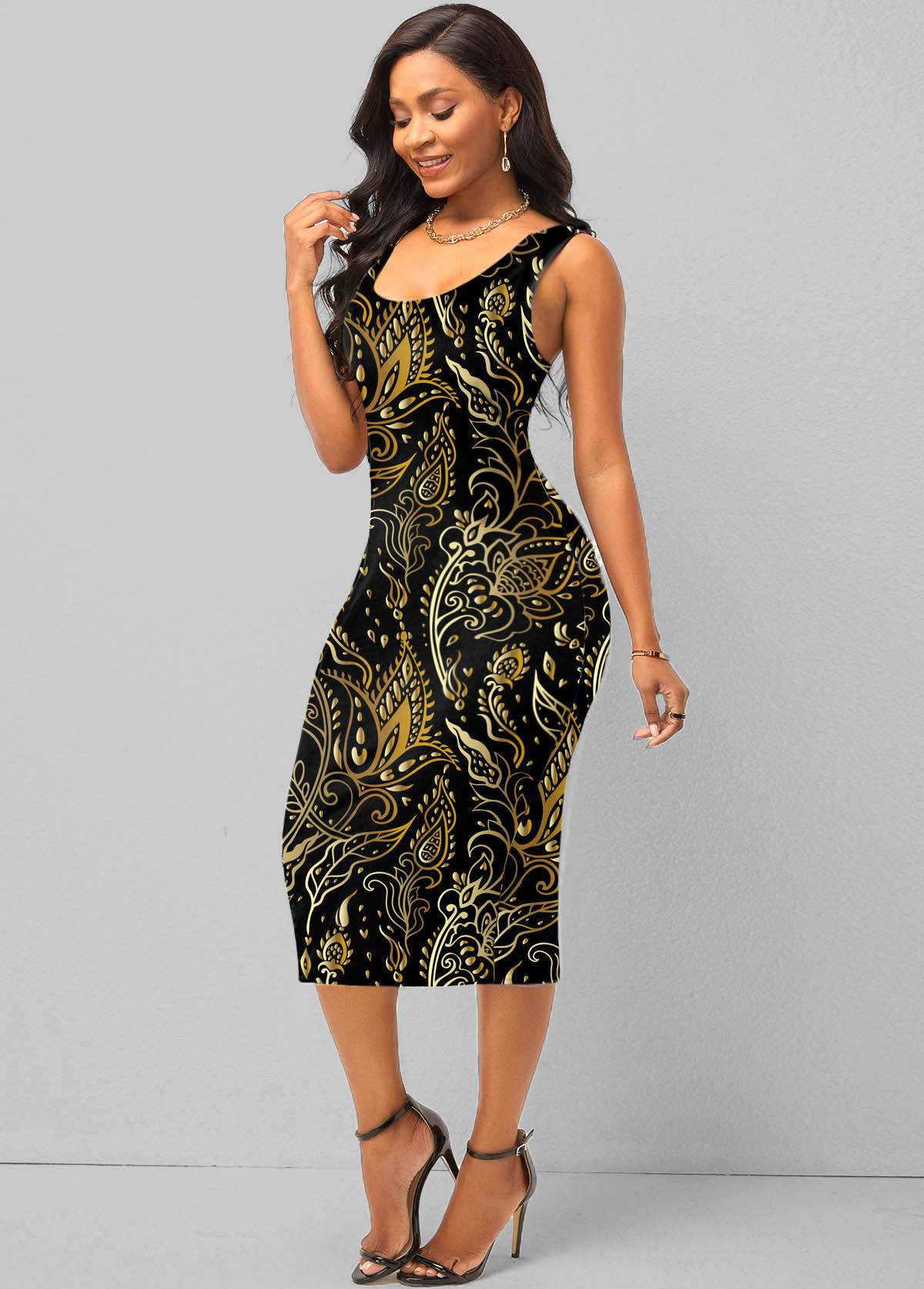 Wide Strap Retro Print Bodycon Dress