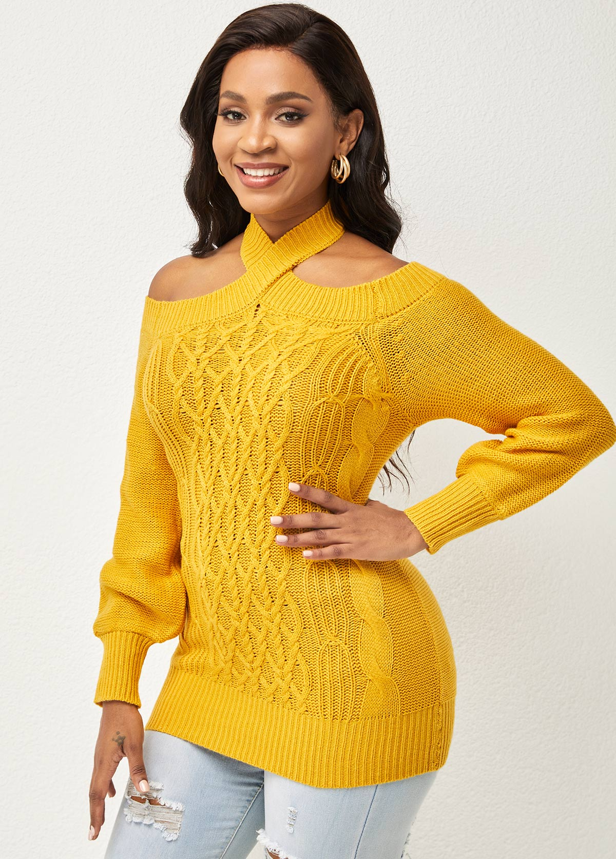 Tie Back Solid Long Sleeve Sweater