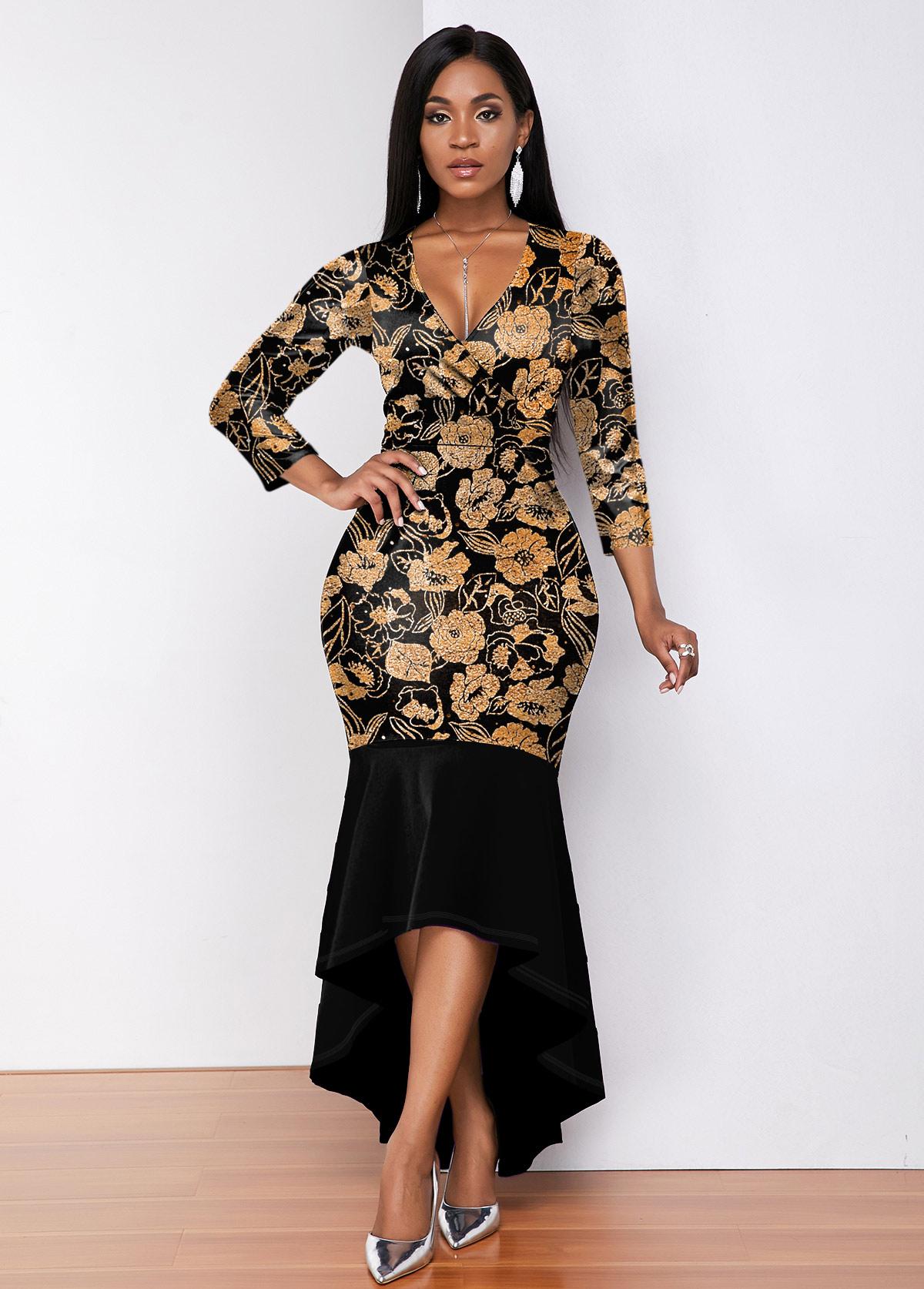 V Neck 3/4 Sleeve Hot Stamping Mermaid Dress