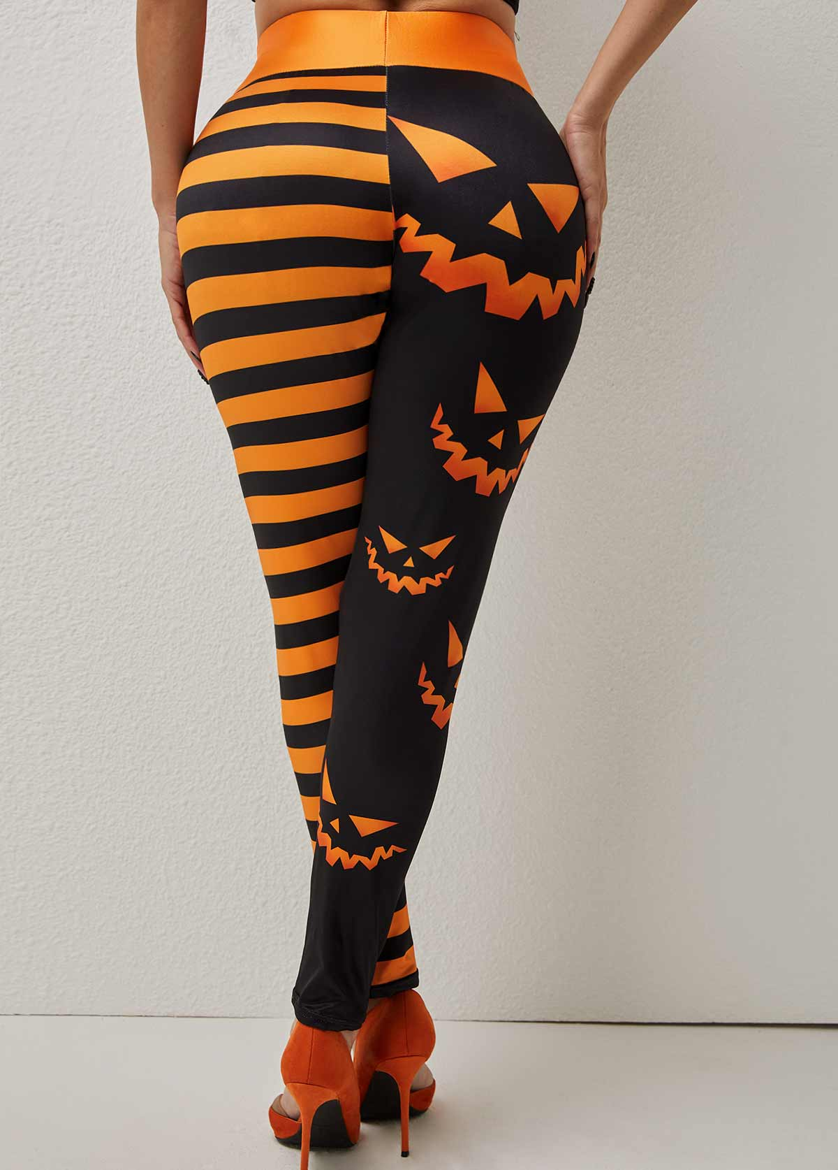 High Waisted Skinny Halloween Print Pants