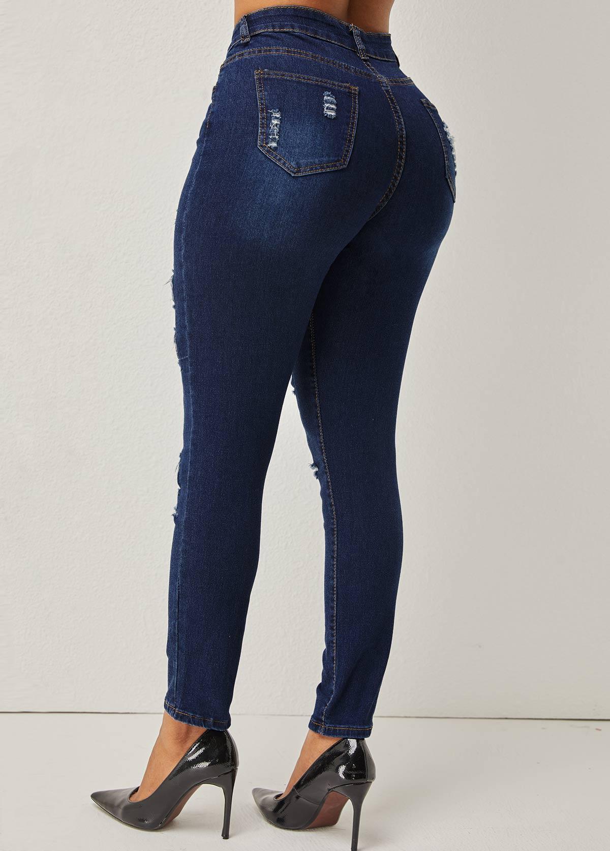 Skinny Shredded Leopard High Waist Jeans