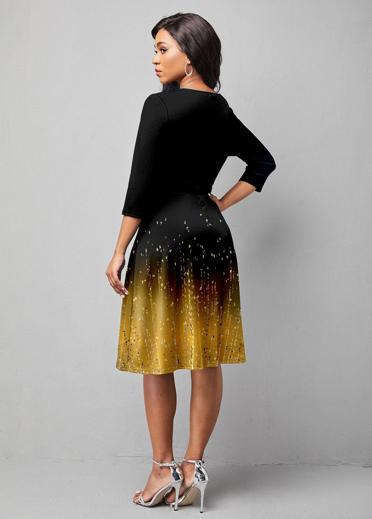 Embellished Neck 3/4 Sleeve Ombre Print Dress