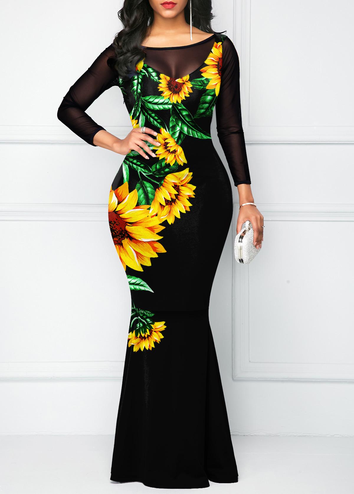 Mesh Stitching Sunflower Print Bowknot Dress