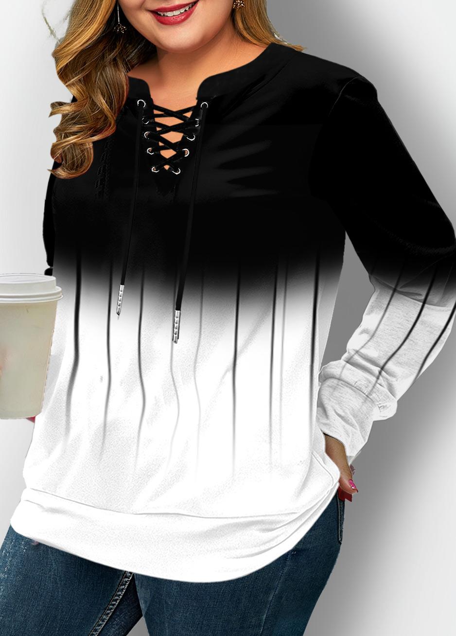 Ombre Print Lace Up Plus Size Long Sleeve Sweatshirt