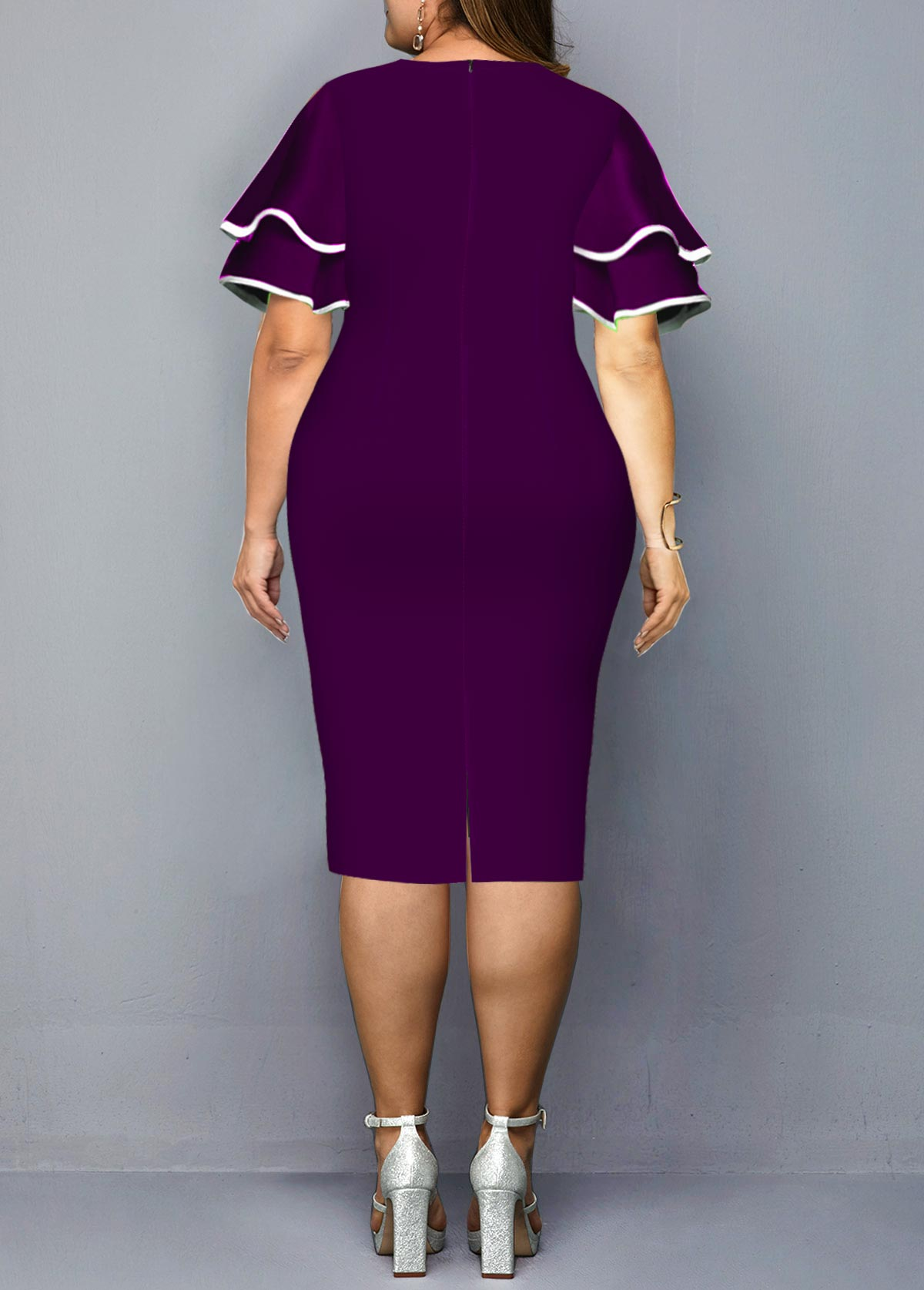 Layered Bell Sleeve Plus Size Geometric Print Dress