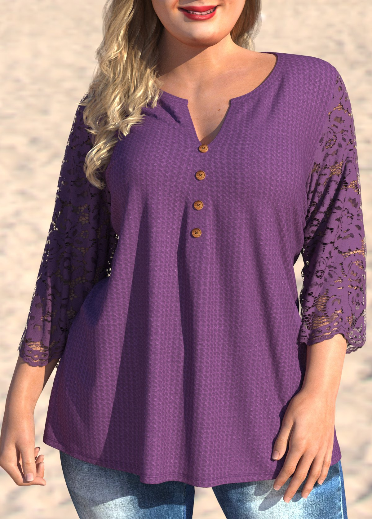 3/4 Sleeve Lace Stitching Split Neck Plus Size Blouse