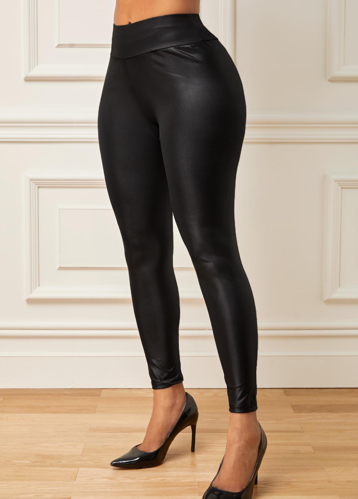 Skinny Faux Leather Mid Waist Pants