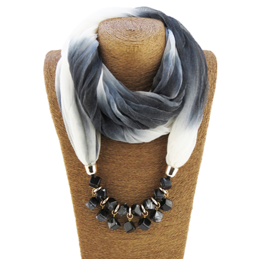 Chiffon Ink Painting Bead Scarf for Women