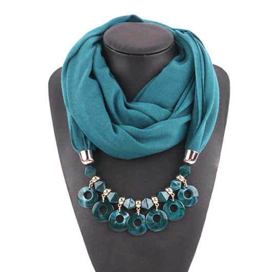 Acrylic Chain Design Turquoise Scarf for Women