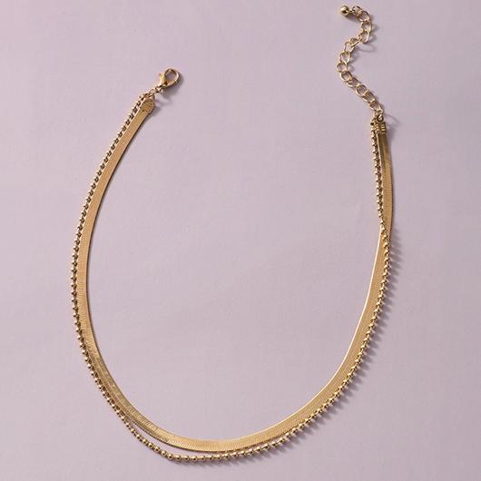 Layered Design Metal Detail Gold Necklace