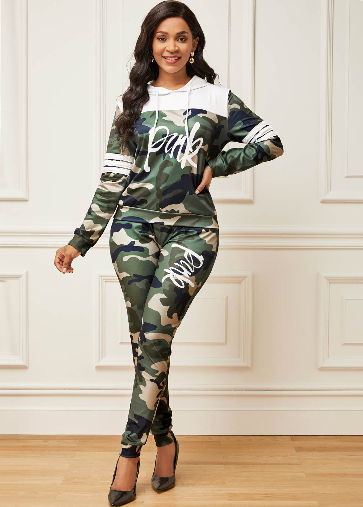 Long Sleeve Camouflage Print Drawstring Sport Suit