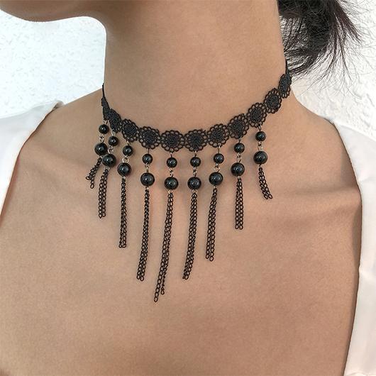 Lace Stitching Imitation Crystal Black Necklace