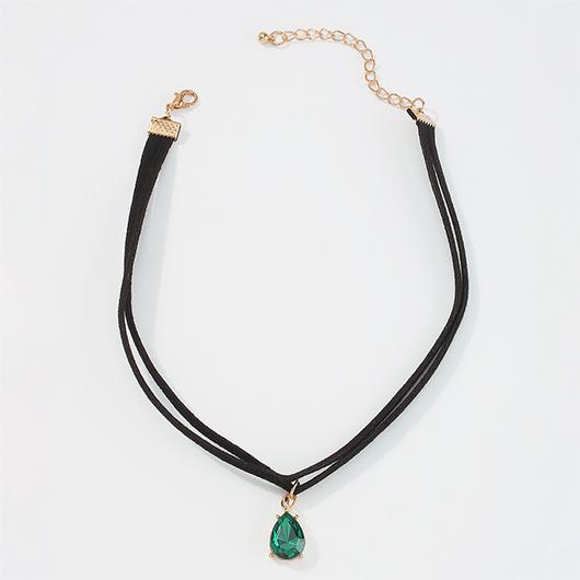Layered Design Rhinestone Black Necklace for Women