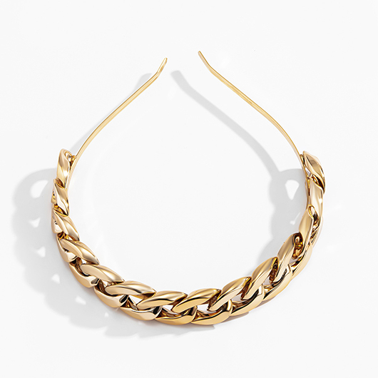 Chain Design Metal Detail Gold Headband