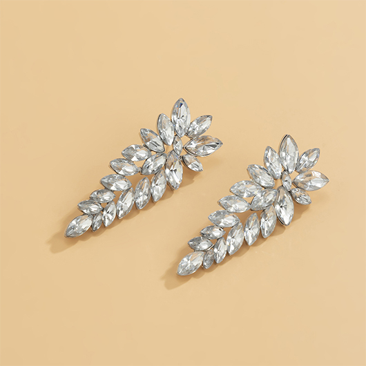 Rhinestone Metal Detail Silver Earring Set