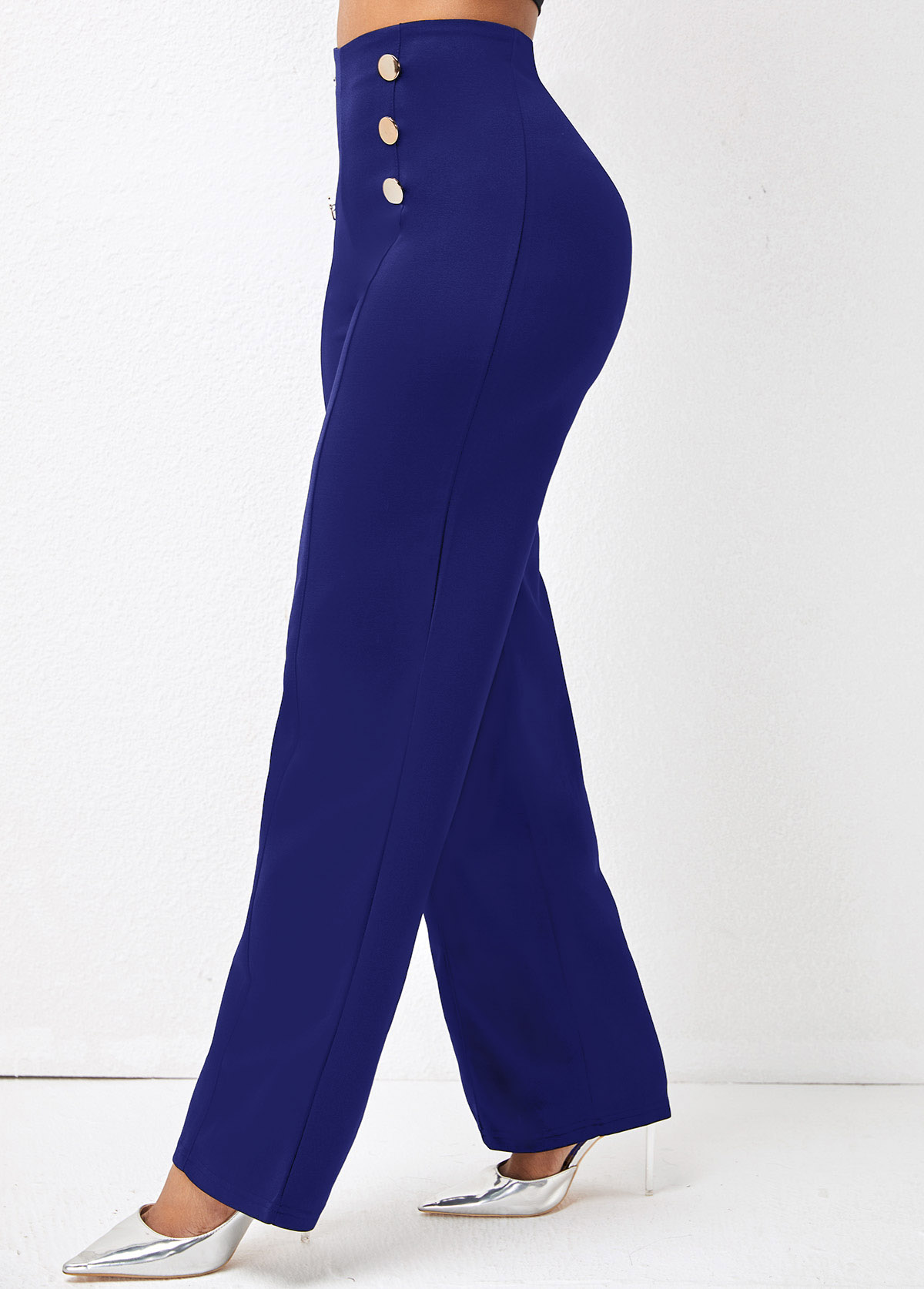 Double Breasted Solid High Waisted Pants