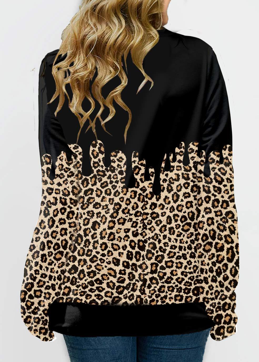 Leopard Plus Size Long Sleeve Sweatshirt