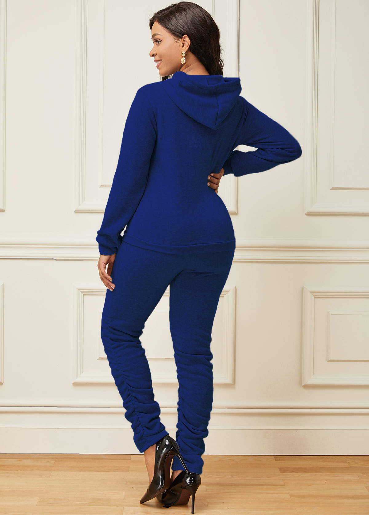 Letter Print Long Sleeve Hooded Collar Sweatsuit