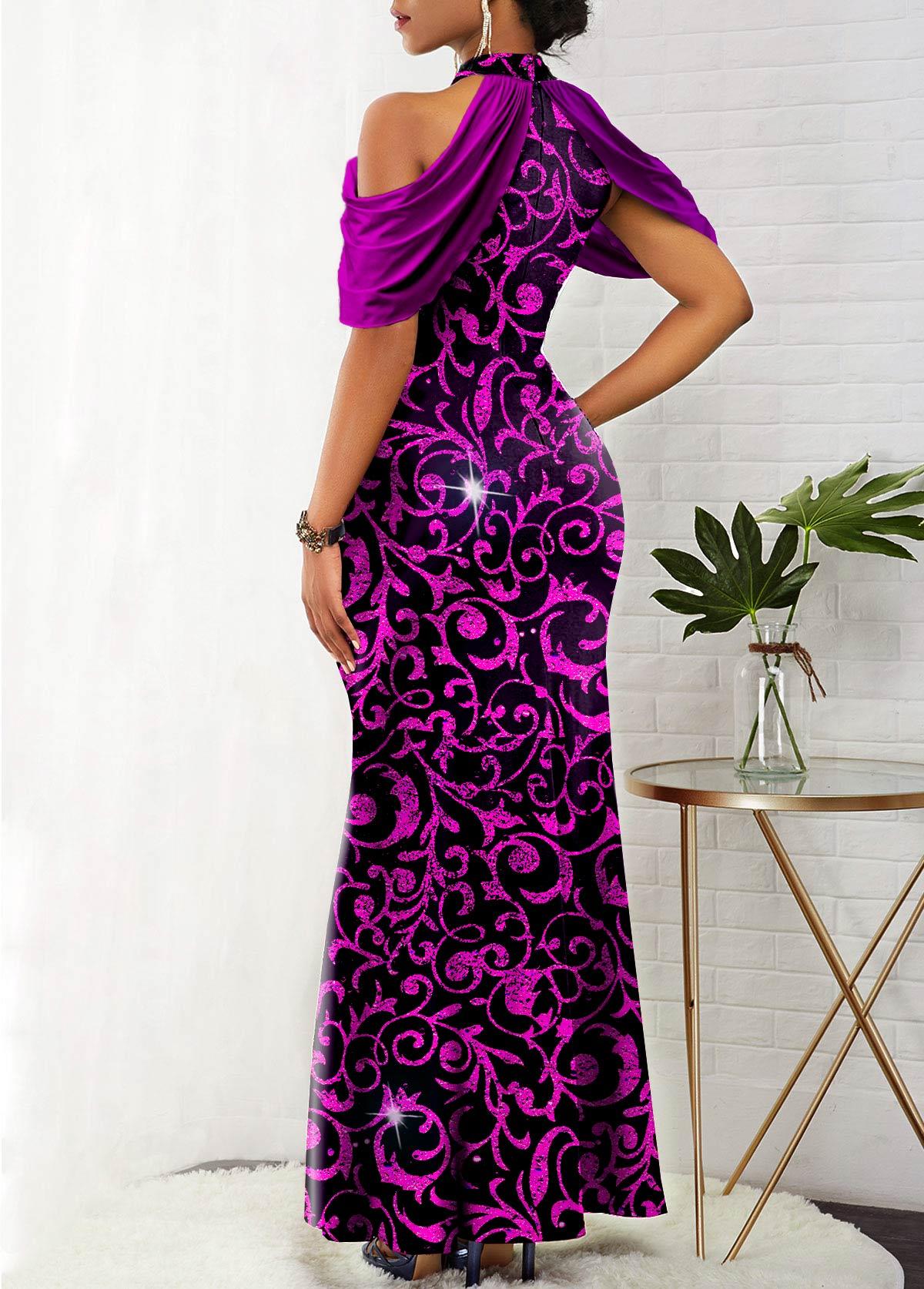 Shining Bib Neck Cold Shoulder Mermaid Dress