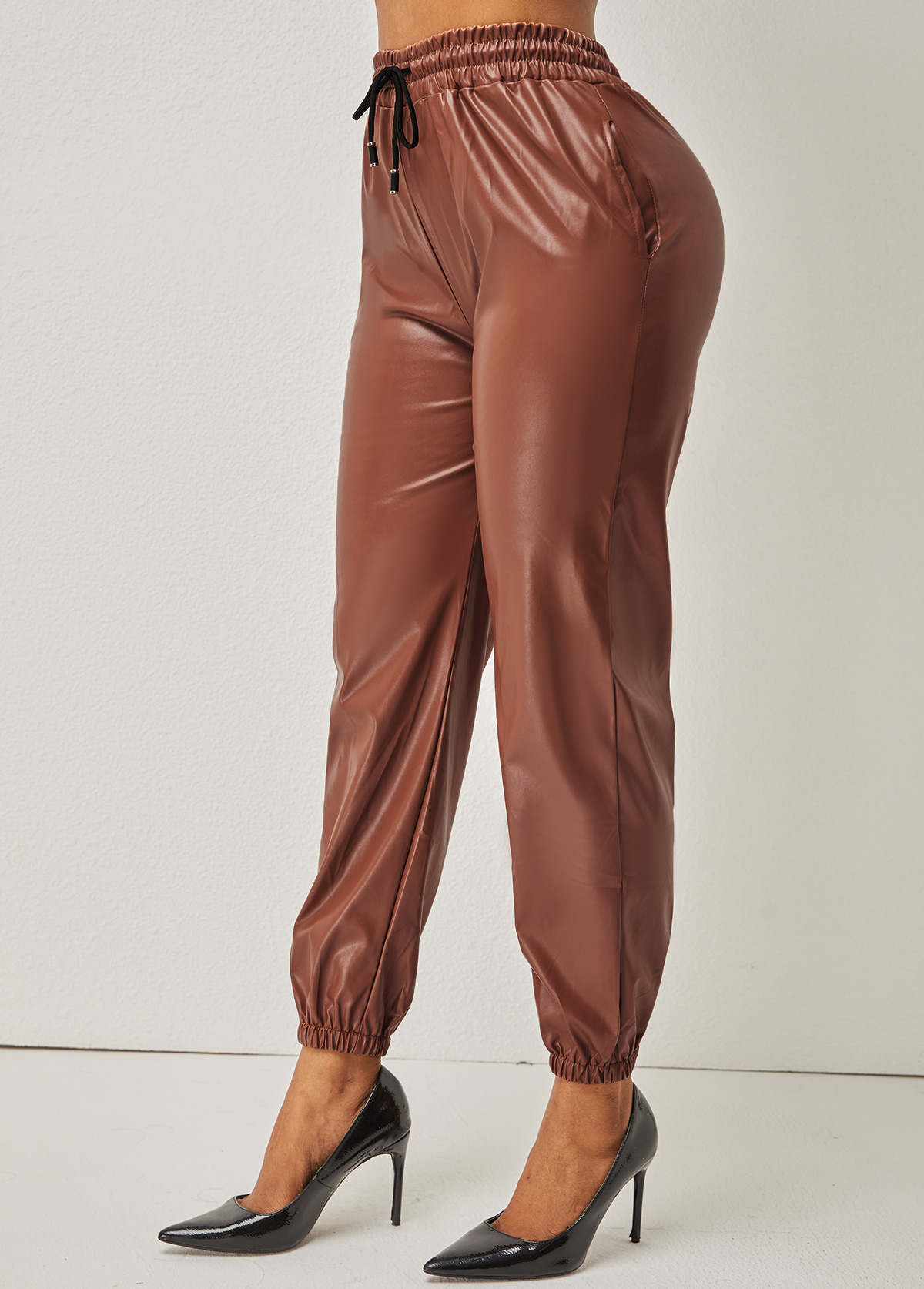 Drawstring Detail High Waisted Solid Pants