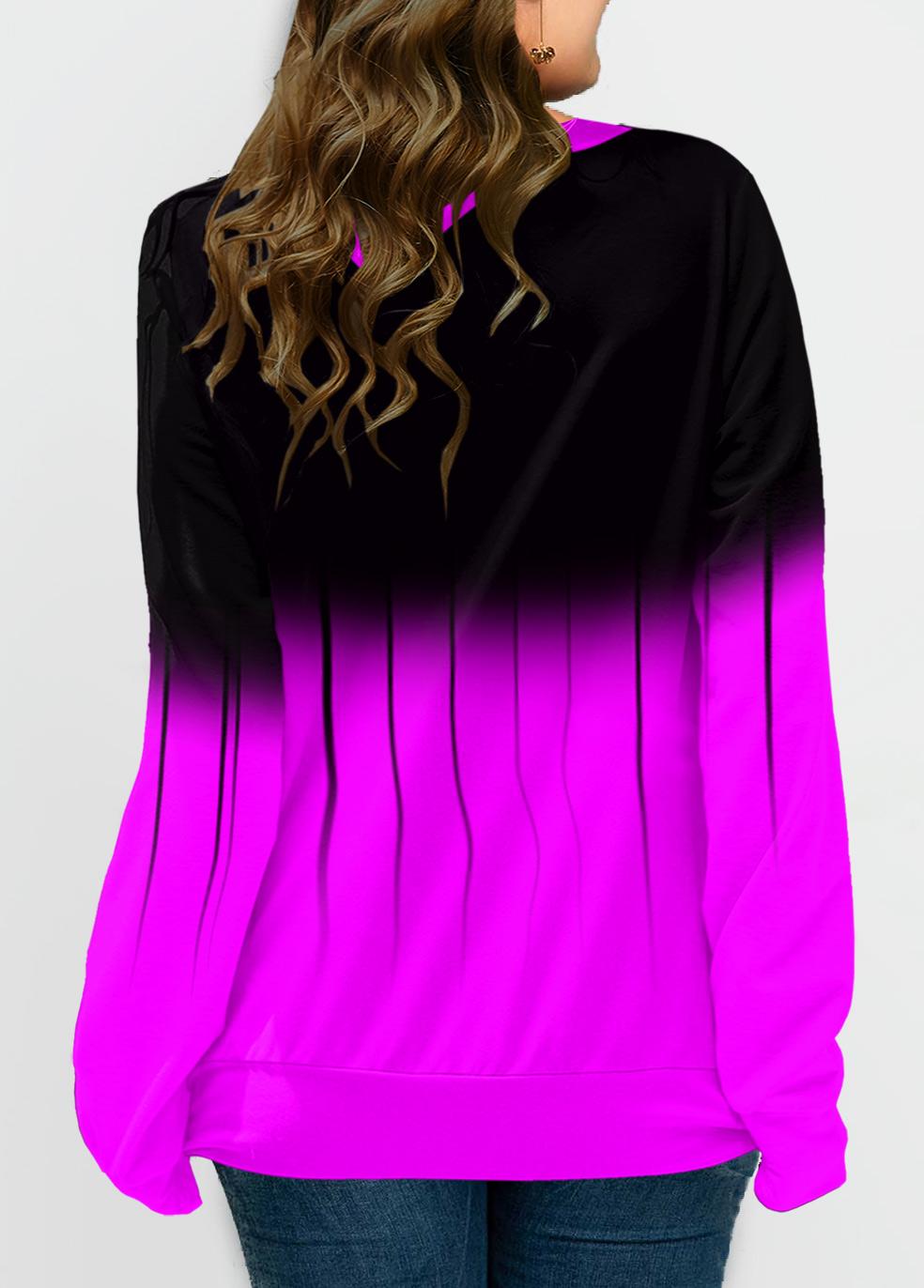 Ombre Lace Up Plus Size Long Sleeve Sweatshirt