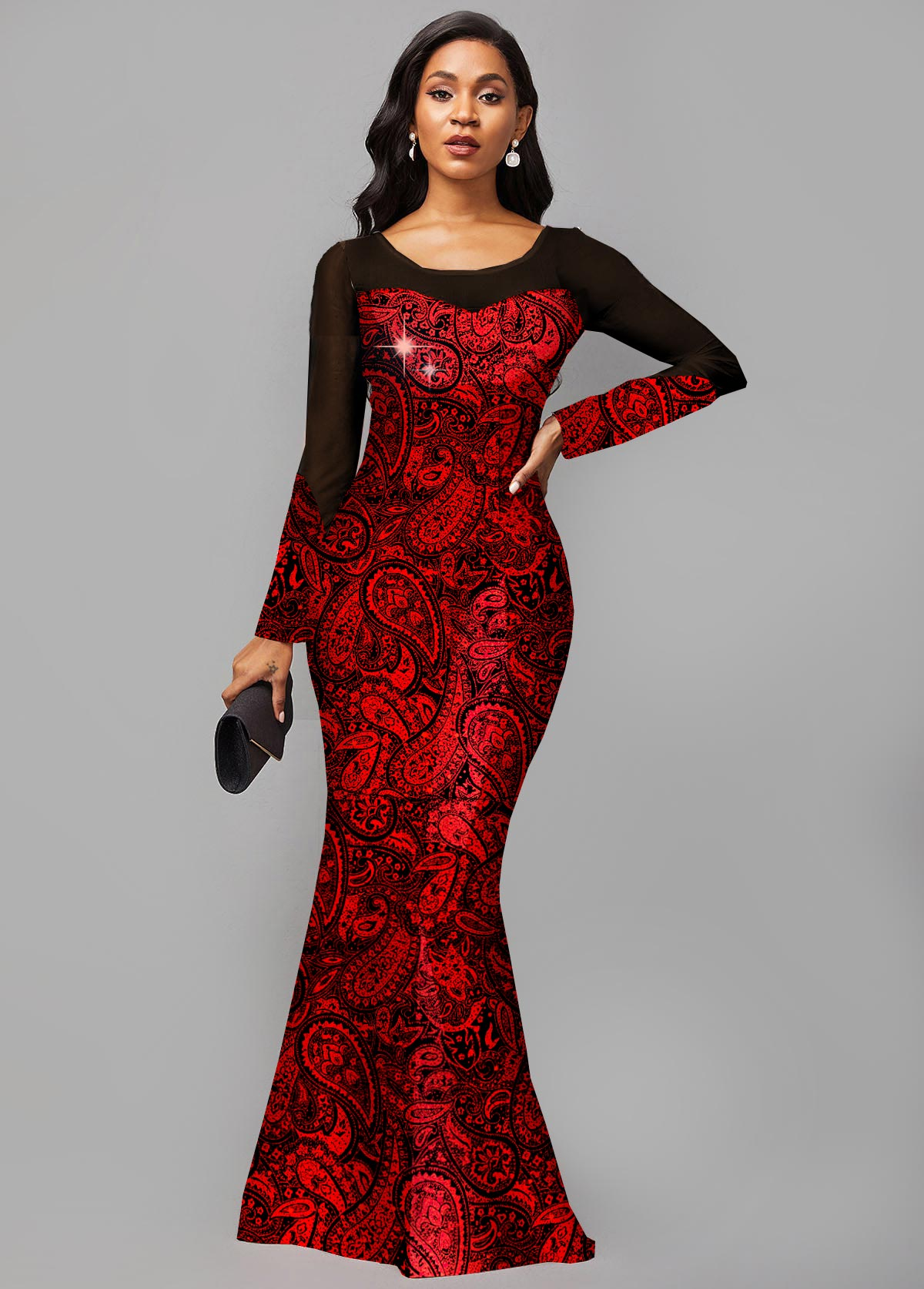 Long Sleeve Hot Stamping Round Neck Dress