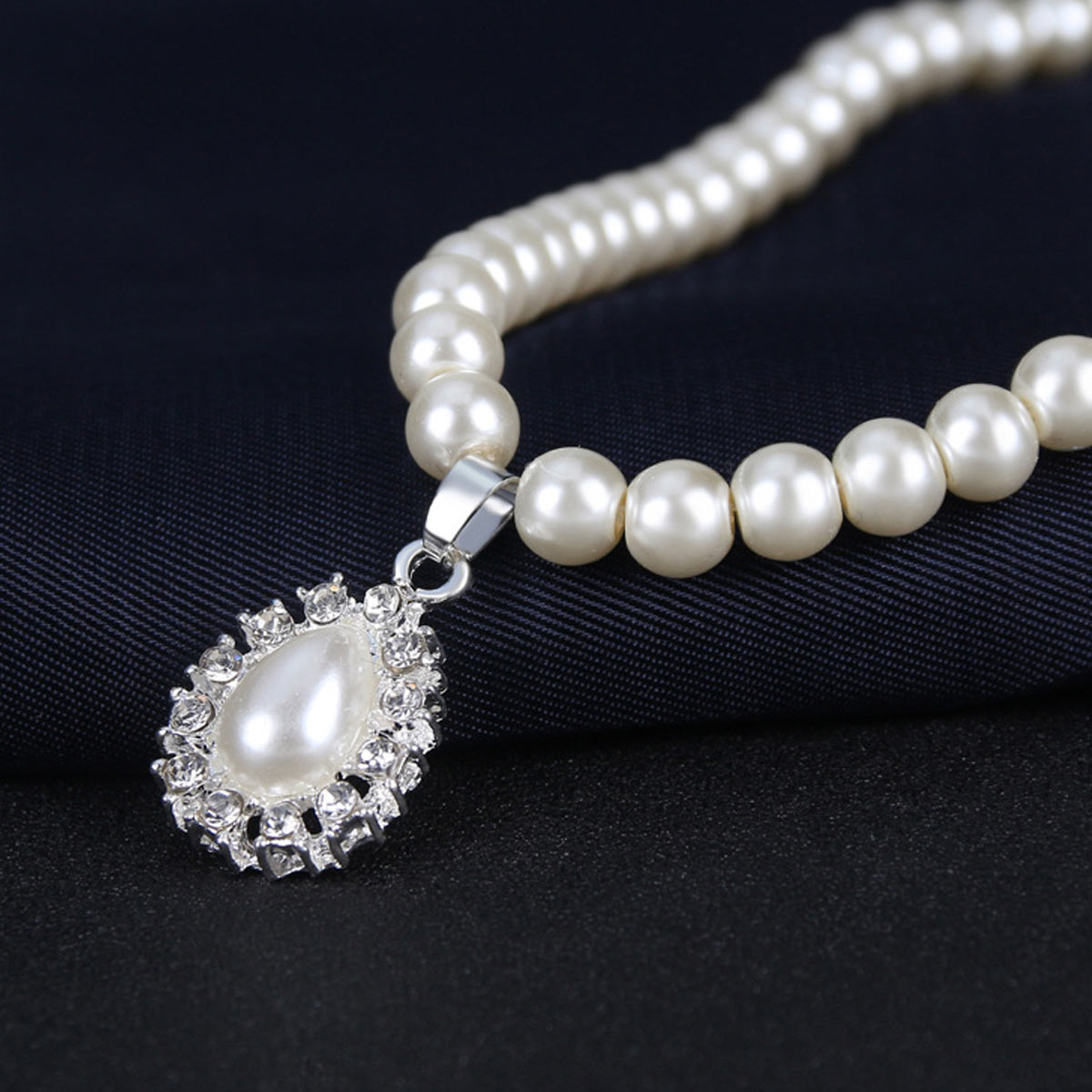 Pearl Rhinestone Cream Water Drop Shape Earring Set