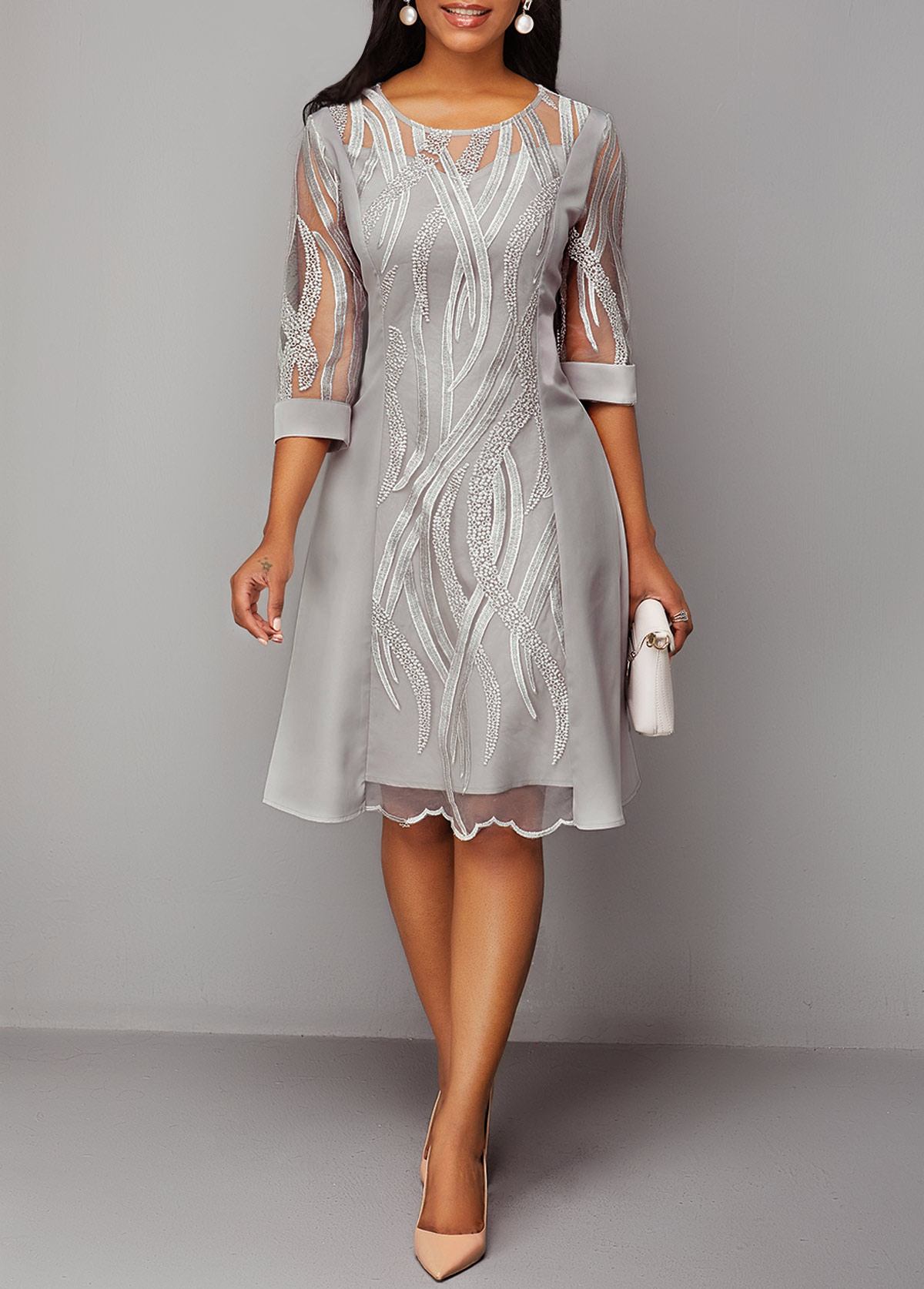 Three Quarter Sleeve Back Zipper Round Neck Lace Dress