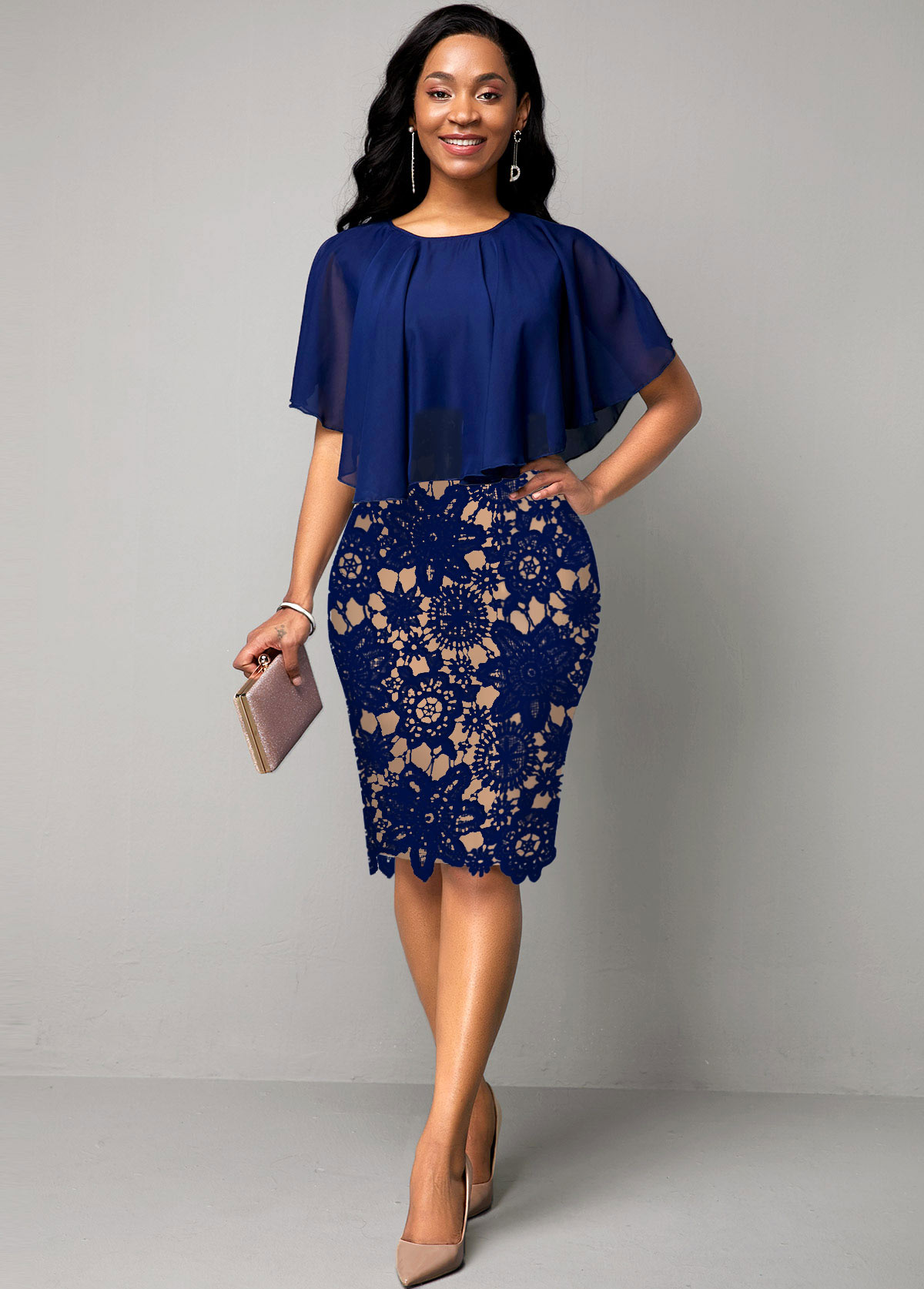 Navy Blue Lace Panel Cape Sleeve Dress