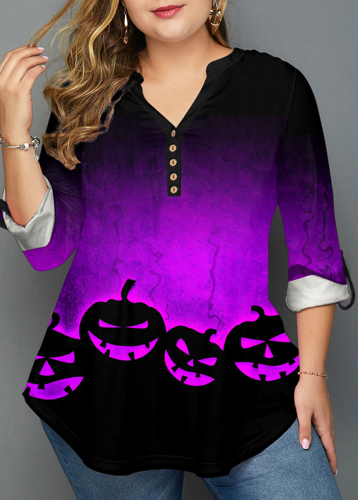 Halloween Print Ombre Plus Size Blouse