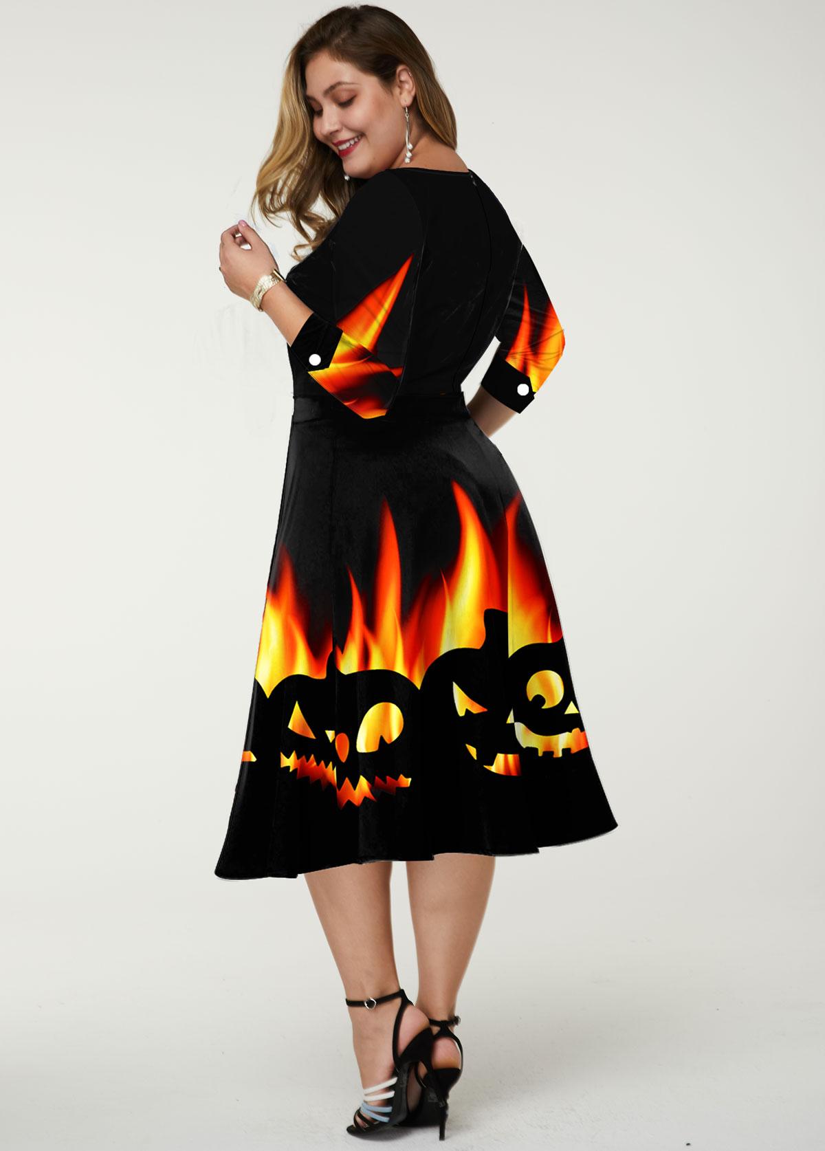 Halloween Print Mesh Panel Plus Size Dress