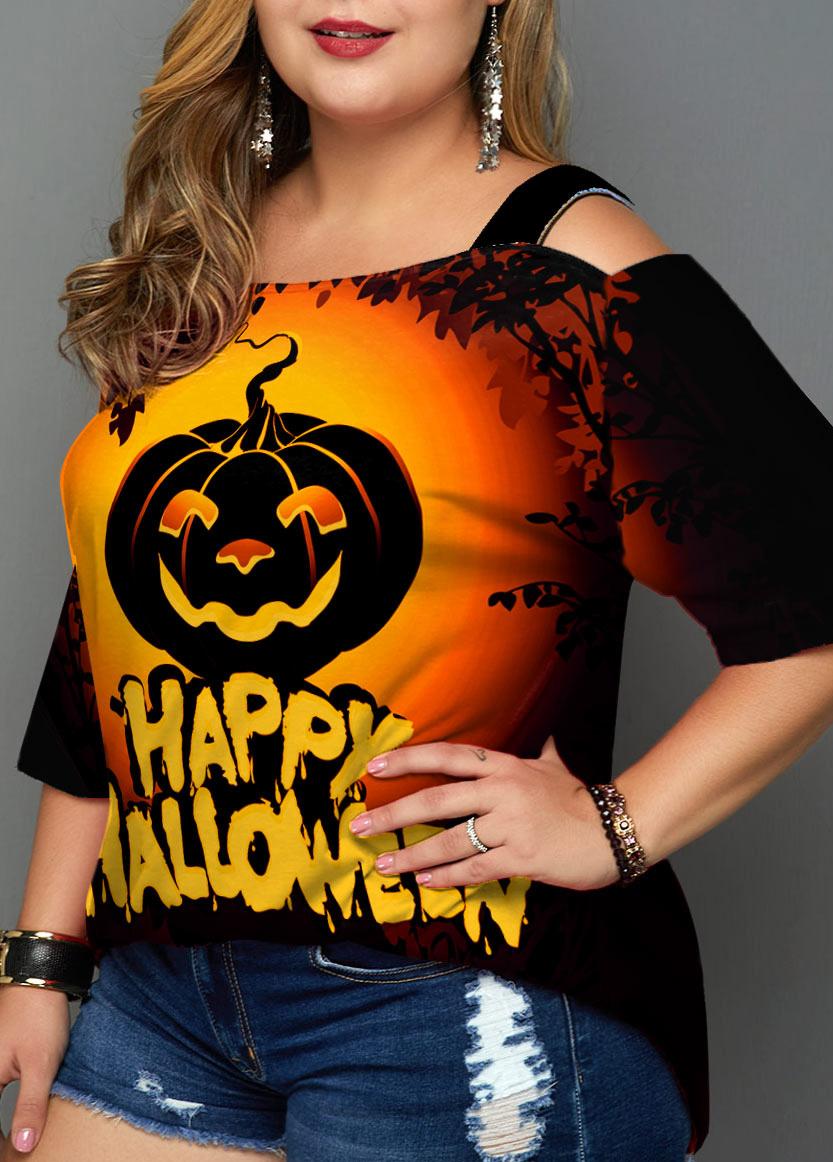 Halloween Print Cold Shoulder Plus Size T Shirt