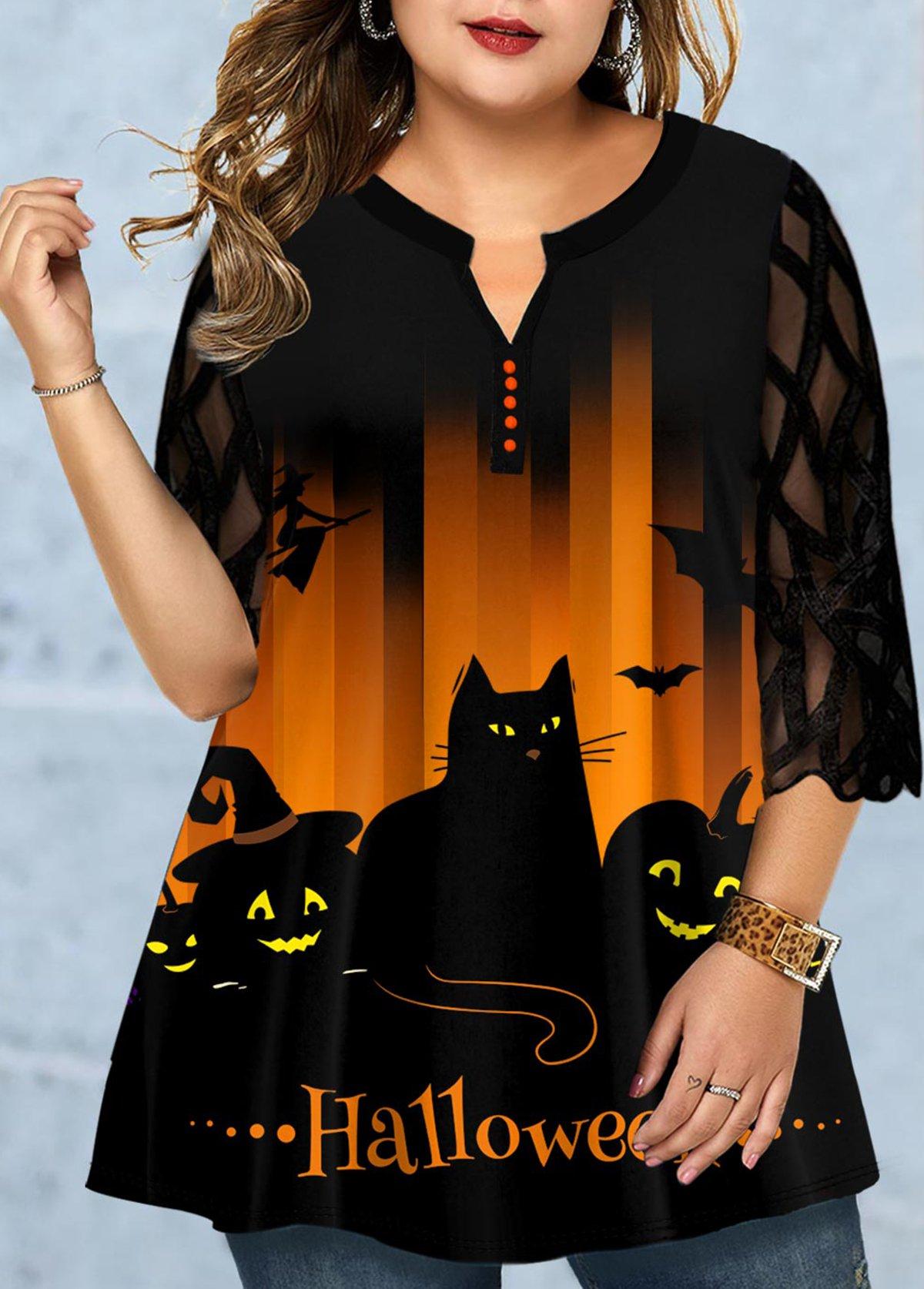 Halloween Print Lace Panel Plus Size Blouse