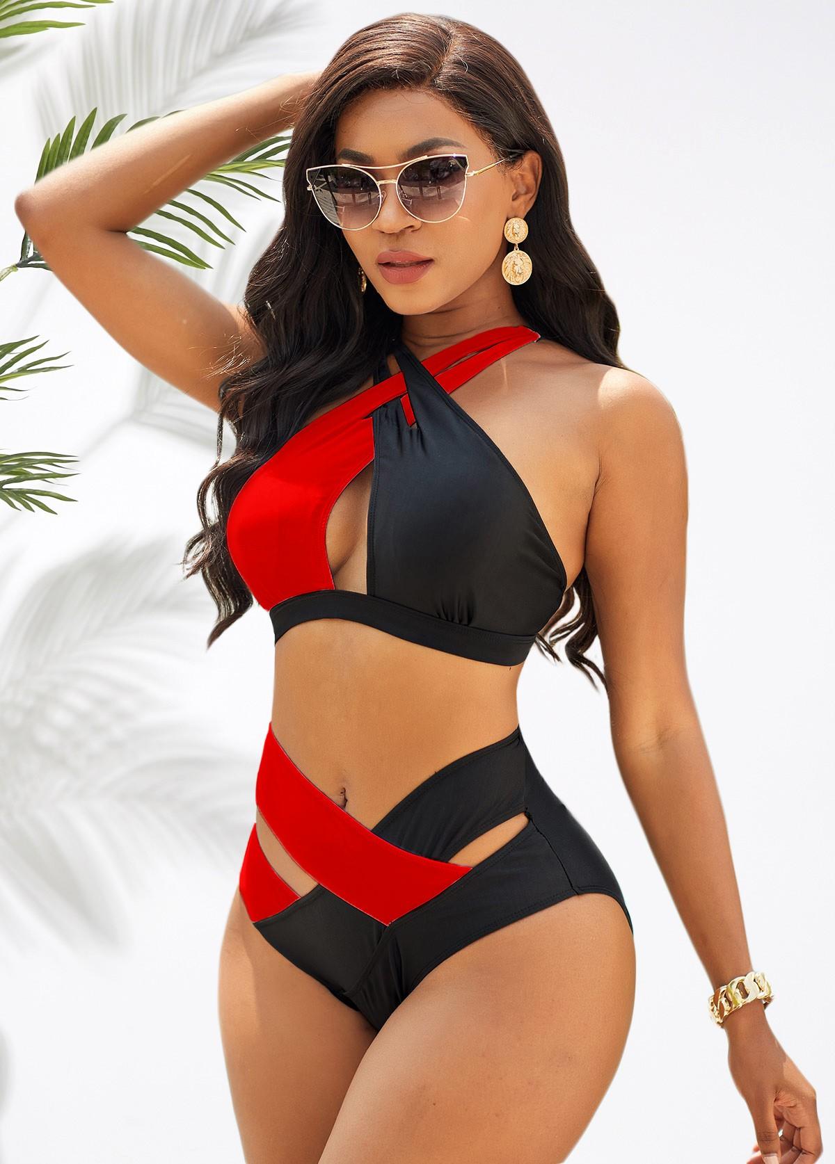High Waist Contrast Cross Strap Bikini Set