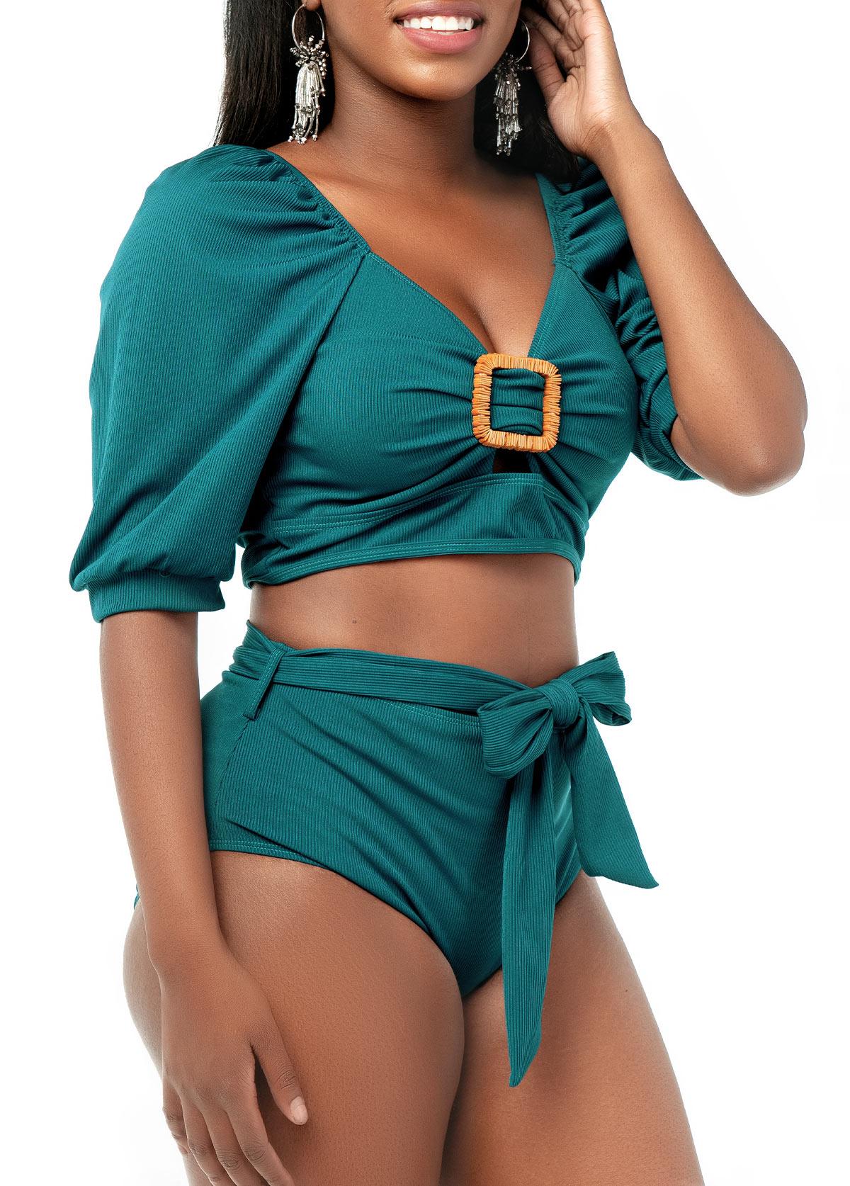 Short Sleeve High Waist Bowknot Bikini Set