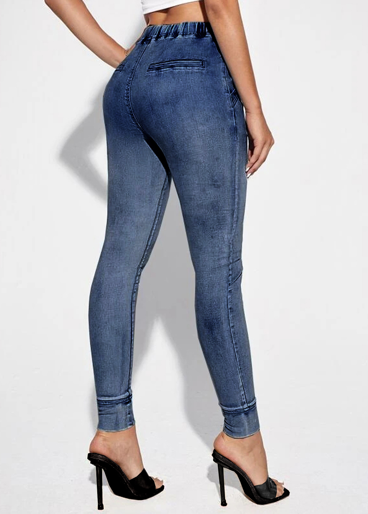 Denim Blue Drawstring Detail Mid Waist Jeans