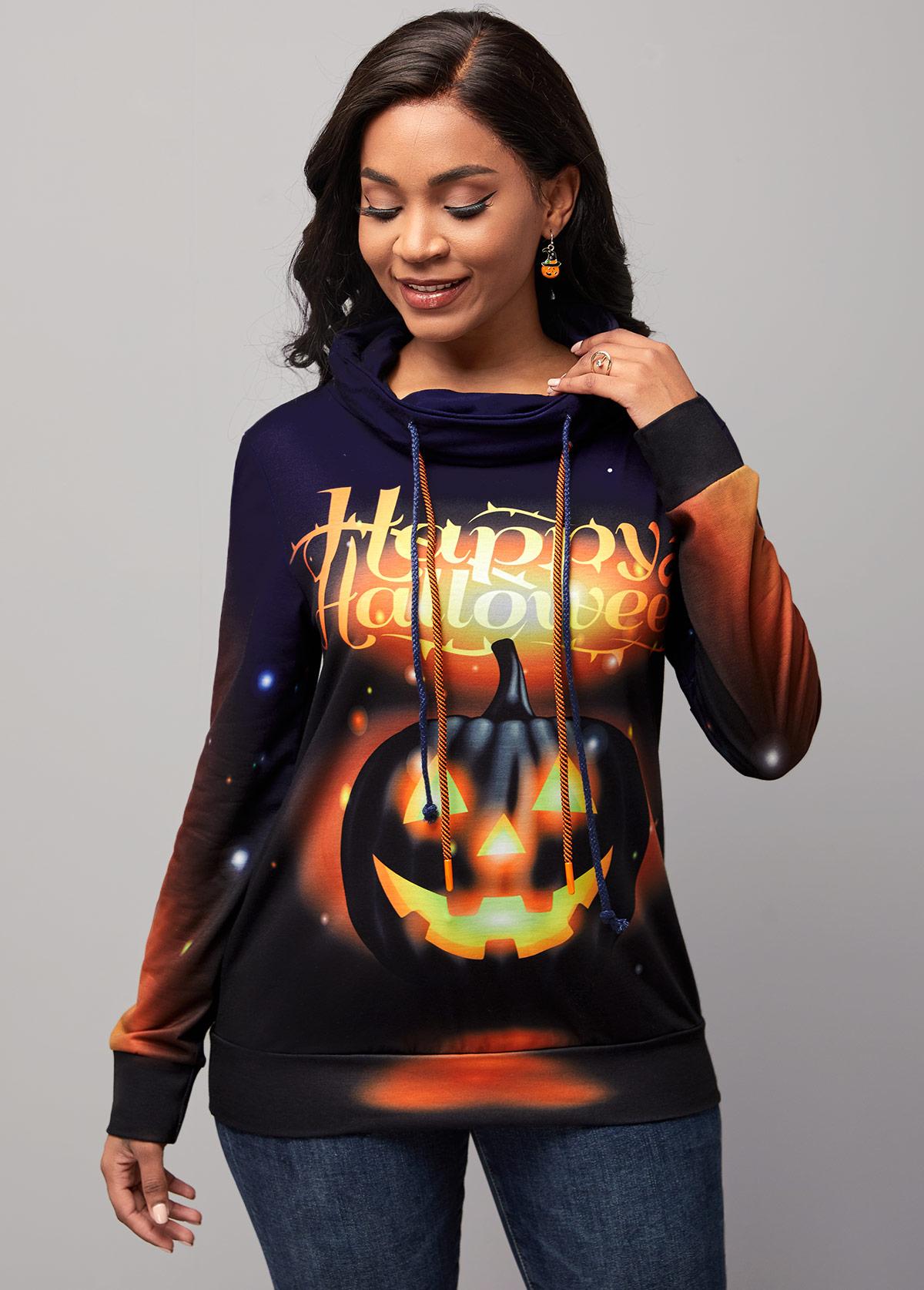 Halloween Print Drawstring Detail Long Sleeve Sweatshirt