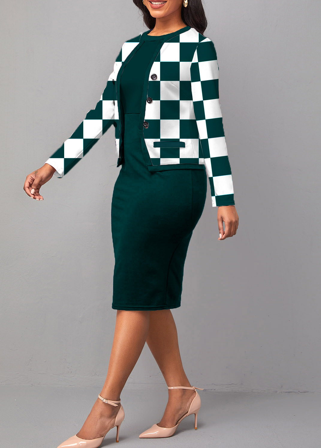 Round Neck Checkered Print Long Sleeve Two Piece Dress