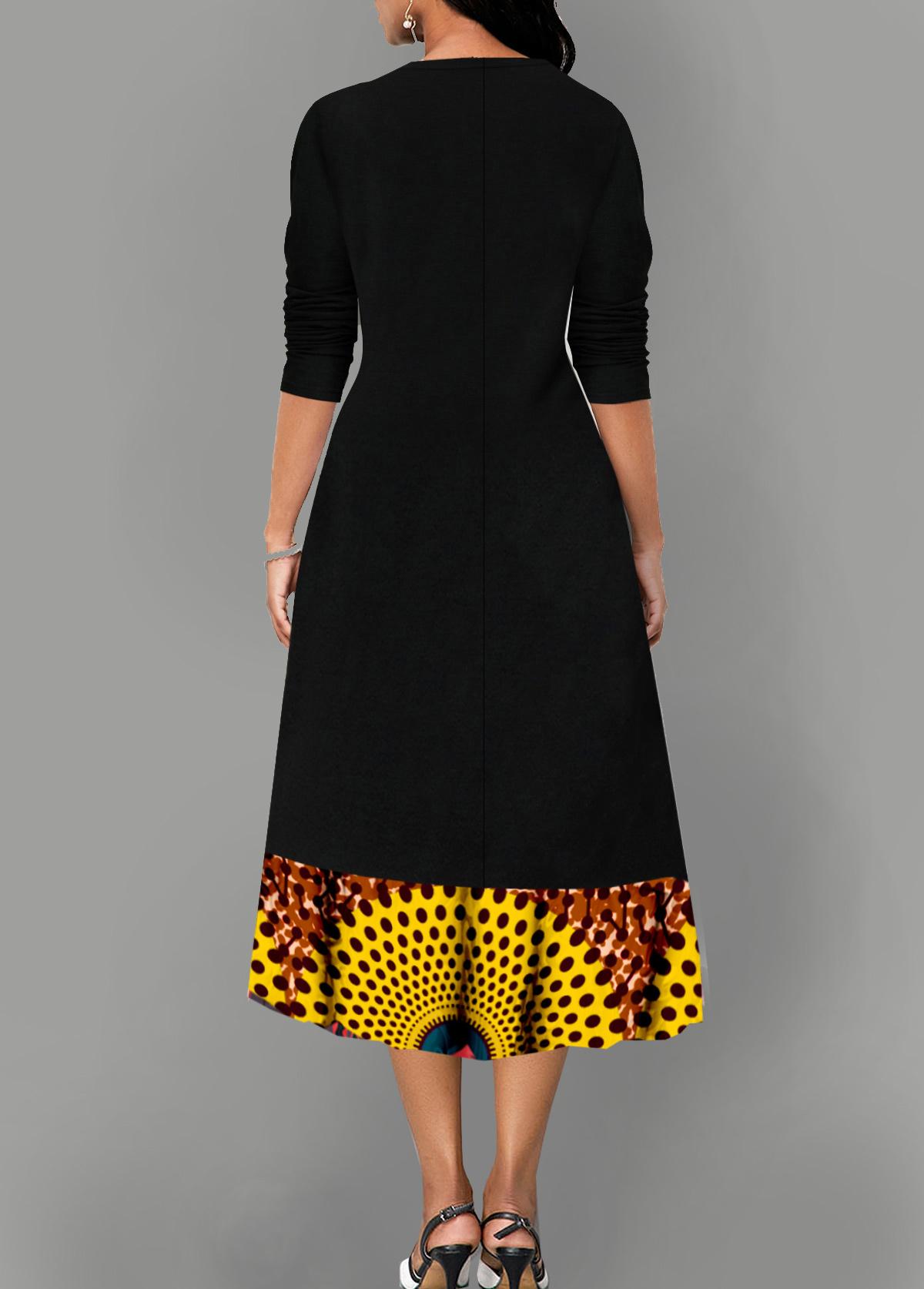 Polka Dot Decorative Button Long Sleeve V Neck Dress